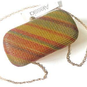 NWT Alessia Rainbow Rhinestone Clutch Crossbody